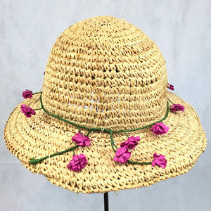 Vintage Straw Hat Paper Flowers One Size